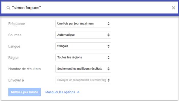 Choisissez vos paramètres d'alertes Google