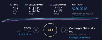 Fenêtre de résultats de Speedtest.net