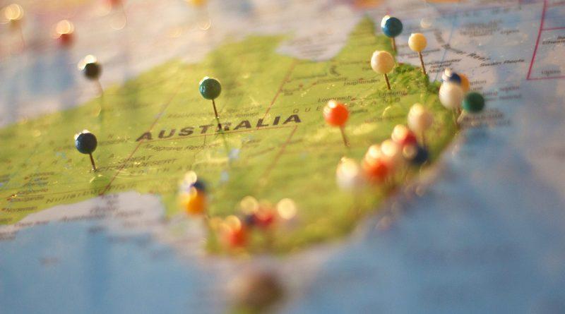 Carte de l'Australie avec des épingles