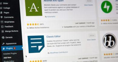 Panneau d'administration d'un site WordPress