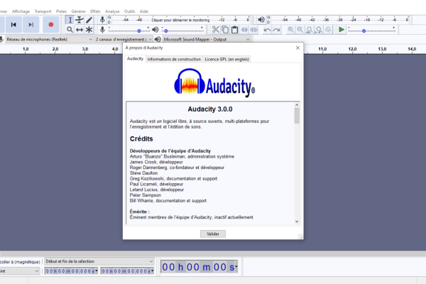 Capture d'écran Audacity 3.0.0