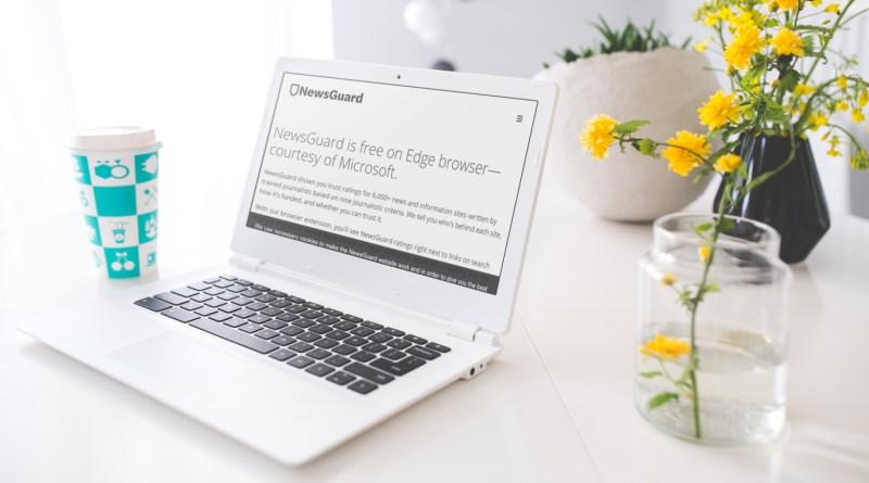 Le site de NewsGuard sur un ordinateur portable