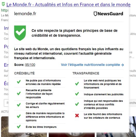 Capture d'écran du classement de LeMonde.fr