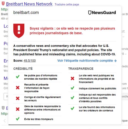 Capture d'écran du classement de Breitbart