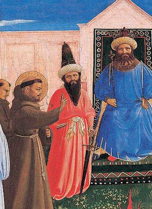 """San Francesco al cospetto del sultano ayyubide d'Egitto, al-Malik al-Kamil, nipote e successore del Saladino, nel 1219, non certamente per fare """"ecumenismo""""."""