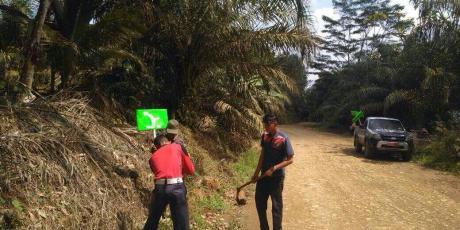 Dishub Solsel Pasang Rambu Petunjuk Jalan Tembus Sungai Kunyit – Dharmasraya