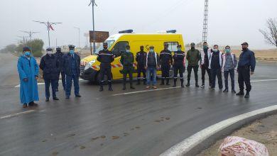 صورة حملة تحسيسية للوقاية من حوادث المرور على مستوى الطريق الوطني رقم 23 بمدخل مدينة عين الذهب