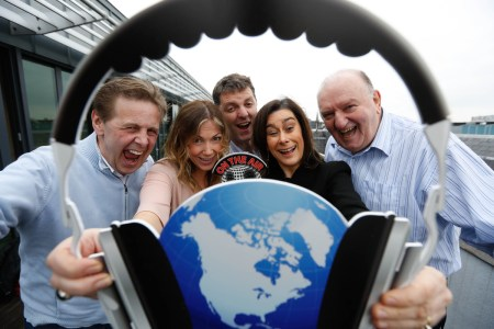 Pictured (L–R): Ian Dempsey (Today FM), Laura Wood (East Coast FM), John Purcell (KCLR 96FM and IBI Chairman), Bernadette Prendergast (Galway Bay FM) and George Hook (Newstalk). Image by Conor McCabe Photography