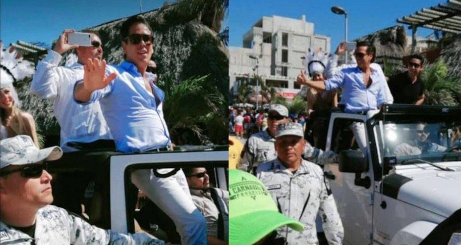 CAPTAN A ROBERTO PALAZUELOS ESCOLTADO POR ELEMENTOS DE LA GUARDIA NACIONAL EN YUCATÁN