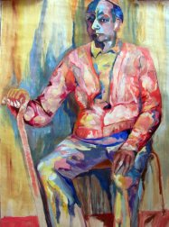 Seated man with a walking stick