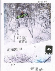 Nick Hyne advertising his Ride Snowboards Machete GT full page in Manual Magazein issue 50.