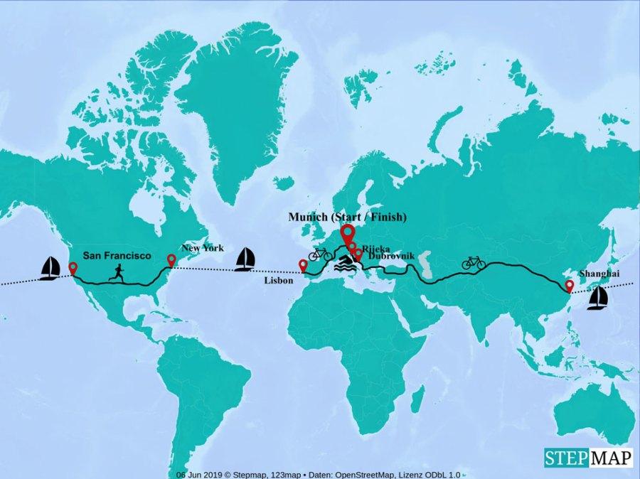 Triathlon um die Welt, Route die Jonas Deichmann geplant hat