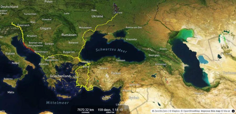 Triathlon um die Welt, Live Map von Jonas Deichmanns Abenteuer