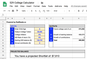 529 Calculator in Google Sheets