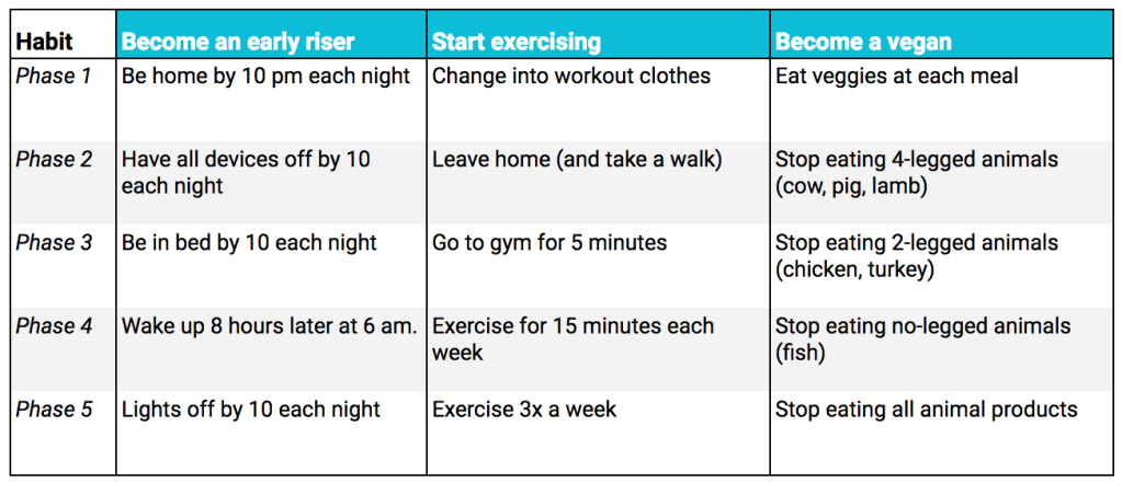 Examples of the two minute rule for: Becoming an early riser, starting to exercise, and becoming a vegan
