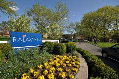 Entrance sign at Radwyn Apartments in Bryn Mawr, PA