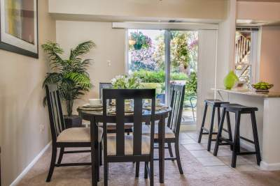 Bright dining room with tiled floor