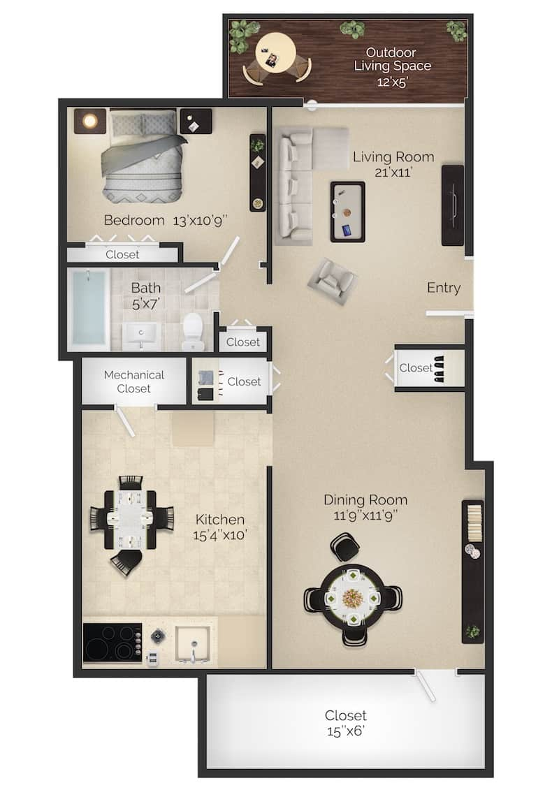 The Wayne II 700 square foot 1 bedroom 1 bathroom apartment with balcony at Radwyn apartments