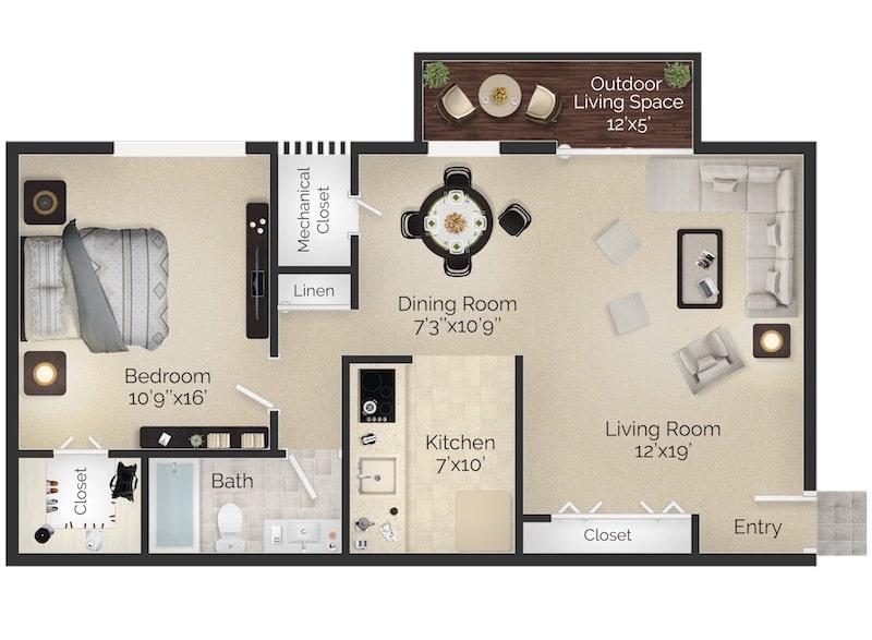 Bryn Mawr Apartment One Bedroom Floor Plan