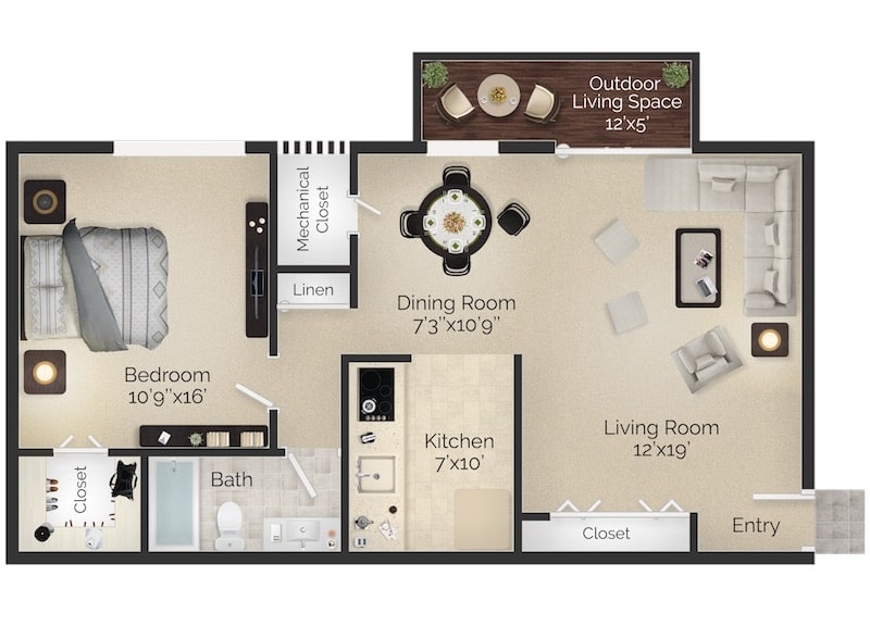 Bryn Mawr Apartment One Bedroom Floor Plan