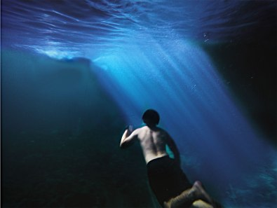 Taking a dip under Cabagnow Cavepool