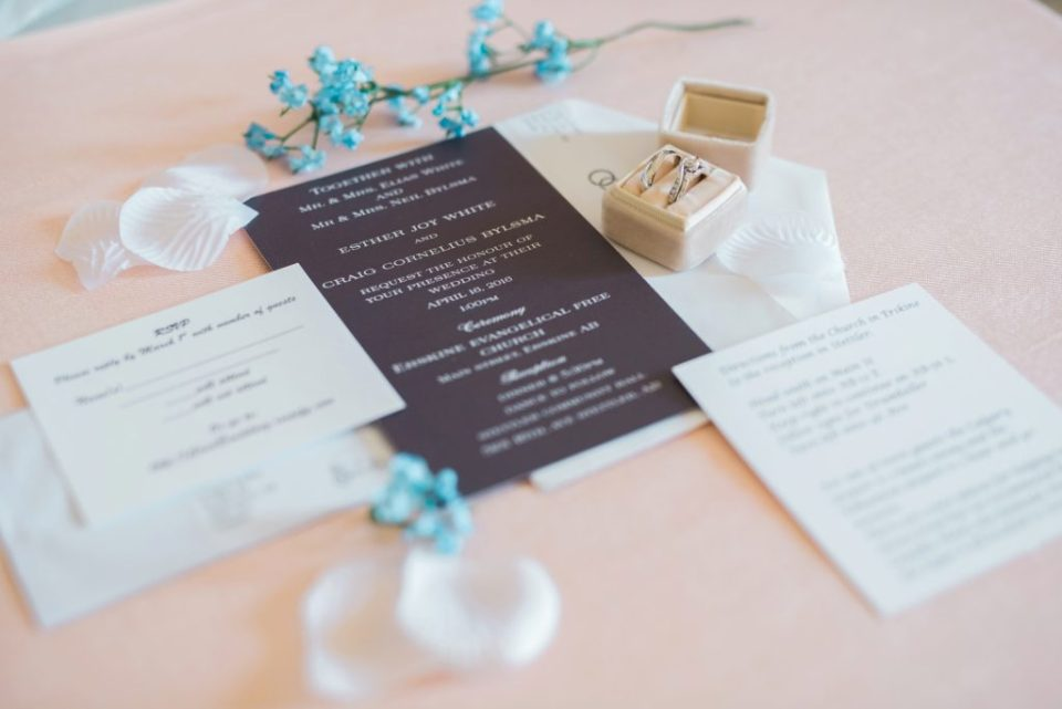Beautiful invitation suite and rings
