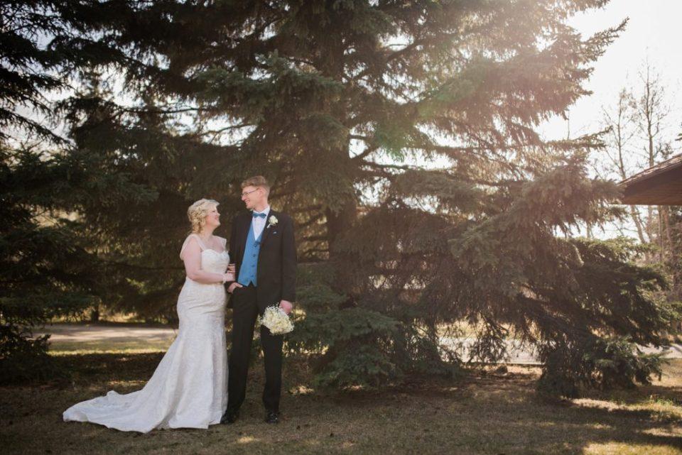 Bride and Groom portrait at Buffalo Lake, AB
