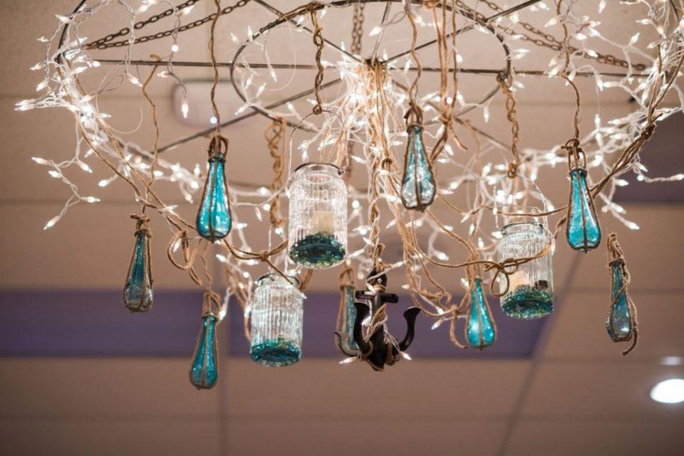 beach glass chandelier