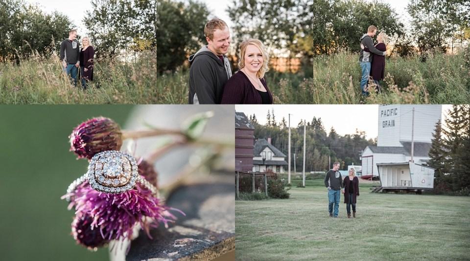 camrose engagement photos-old barn-golden hour engagement photos-ac/dc wedding-diamond halo engagement ring-Raelene Schulmeister Photography
