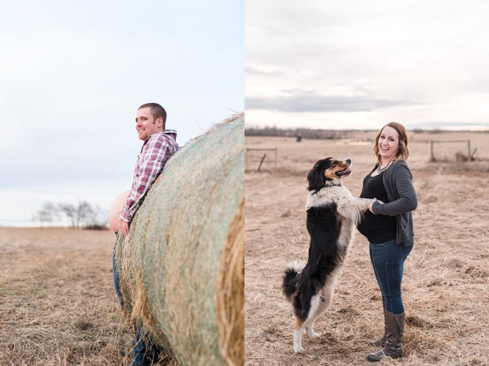 Rustic maternity photos | Red Deer Photographers | funny poses