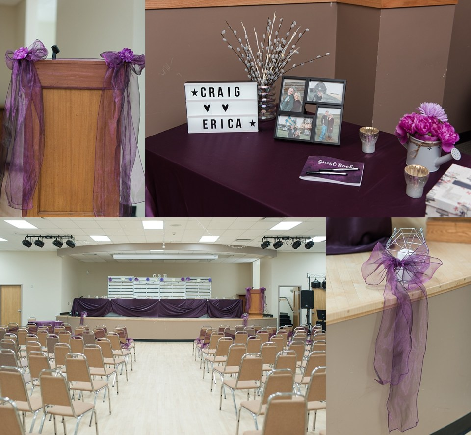 Bashaw Community Hall wedding- Simple purple wedding decor- Central Alberta Wedding- Raelene Schulmeister Photography- Red Deer Wedding Photographers