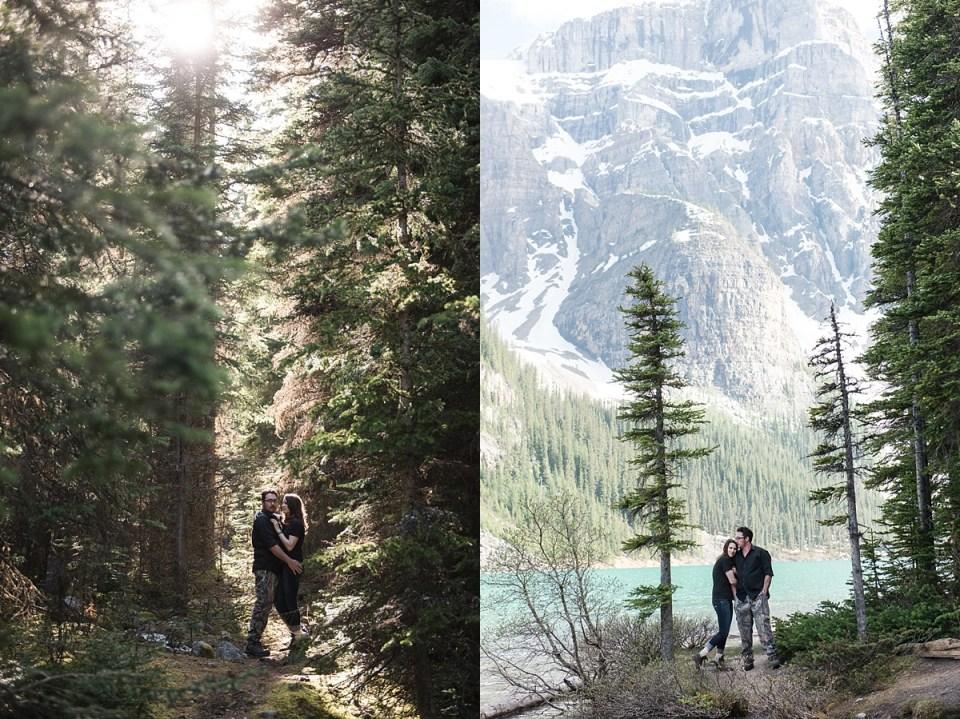 Moraine Lake Engagement | Banff Wedding Photographers | hiking boots | Outdoor photos at moraine lake, AB |