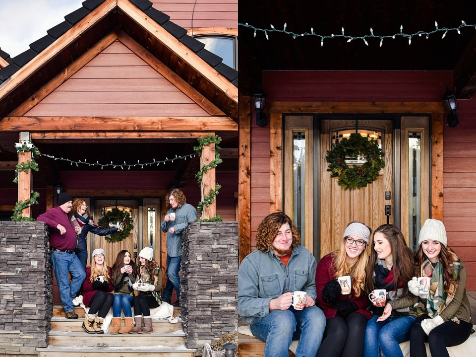 holiday family photos-blue, green and plaid family photos-red deer photographers-outdoor family photos in winter