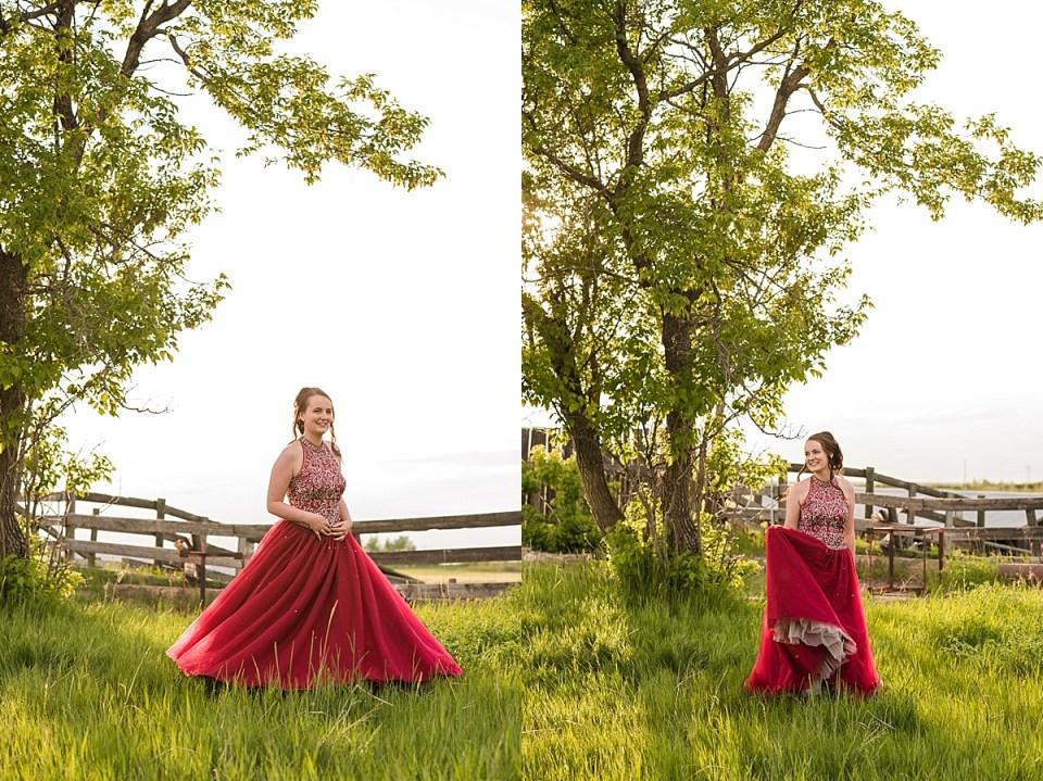 Grade 12 Graduation Photos on the Farm | Old farm buildings and grad photos | Red grad dress | formal senior photos