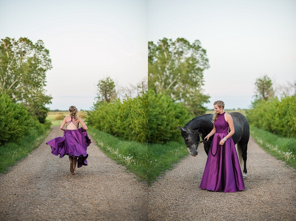 Grade 12 Graduation Photos with Horses | Class of 2018 | Haley | Formal senior photos | Grad photos on farm with animals