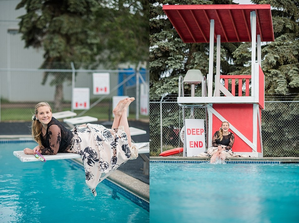 Grad in the Deep End | Fun Senior Photos | Swim themed grad senior session | Graduation photos at the pool | Lifeguard themed senior photos at a pool