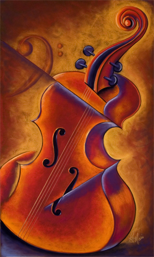 Red Cello Blues | Fine Art Painting by RaeMarie