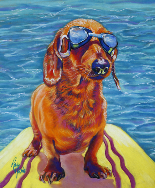 Paste- Pet-Portrait- Water Dauchs-Dachshund