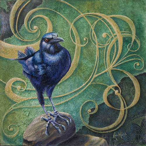 crow, texture, bird, painting