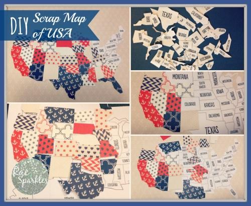 DIY Scrapbook Map of USA Steps