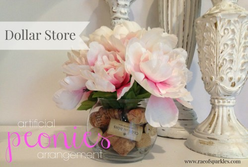 Dollar Store Artificial Peonies Arrangement // Floral Arrangements Cheap // Rae of Sparkles