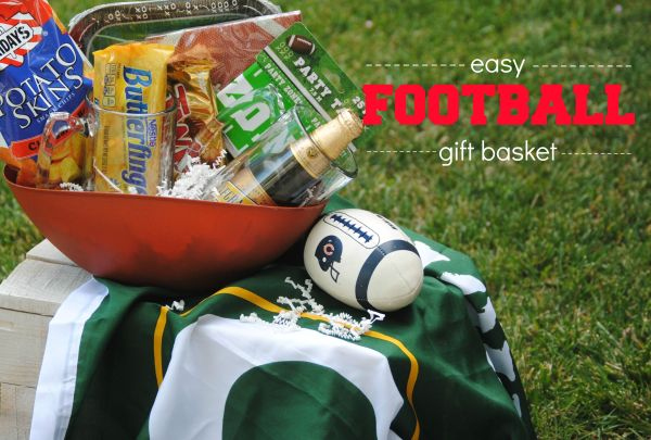 Easy Football Gift Basket  Dollar Store Ingredients