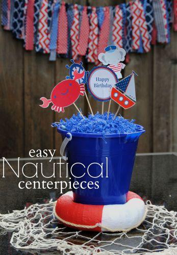 Easy Nautical Centerpieces  Nautical Birthday Party Ideas