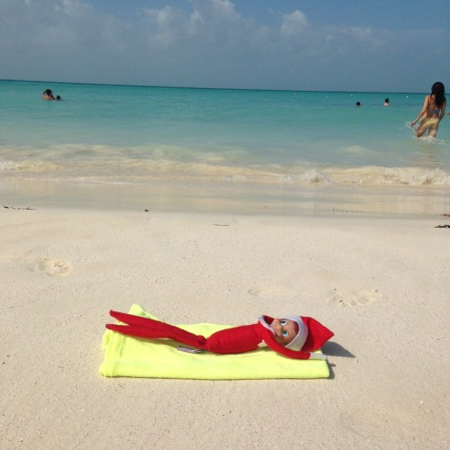 Elf on the Shelf - Sunbathing