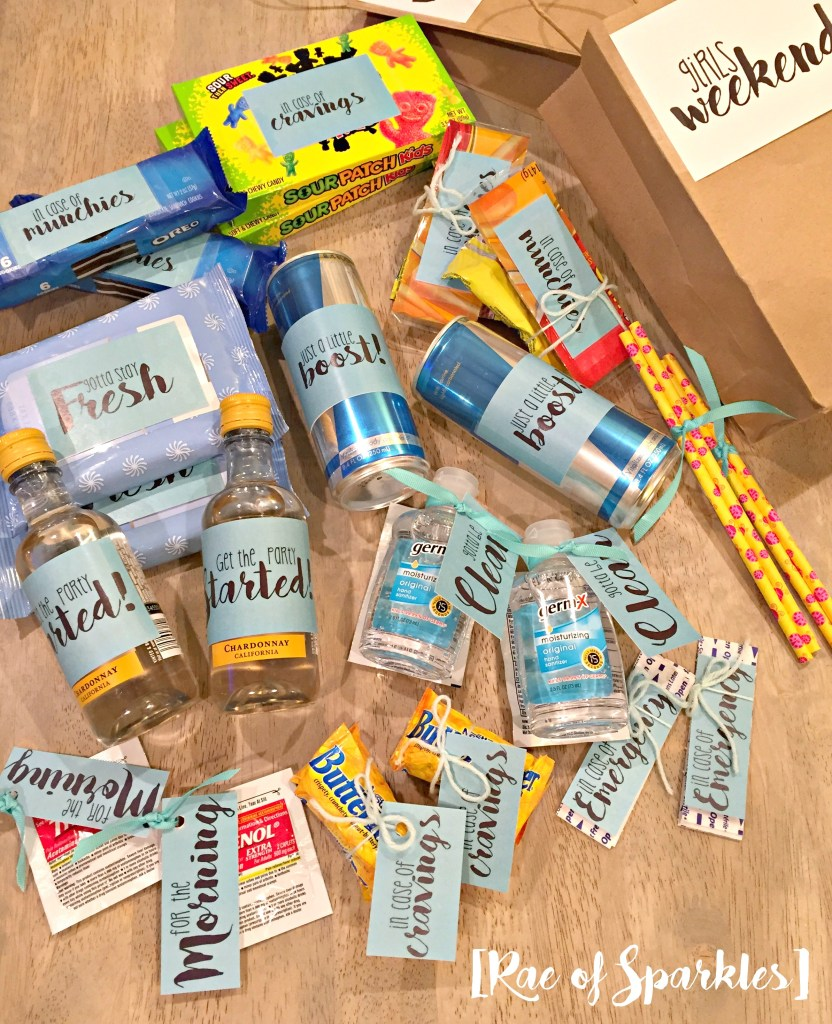 Ingredients for a Girls Weekend Gift Bag and Free Printables