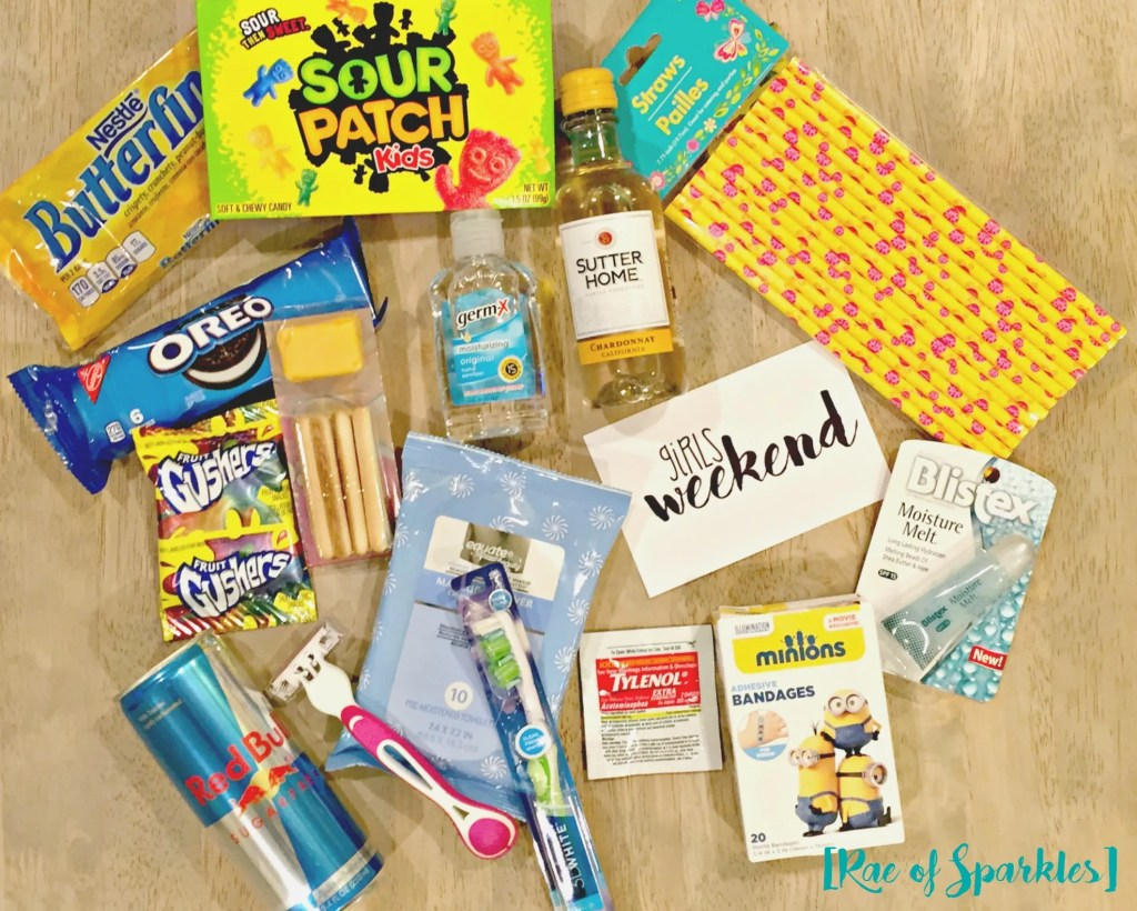 Ingredients for a Girls Weekend Gift Bag