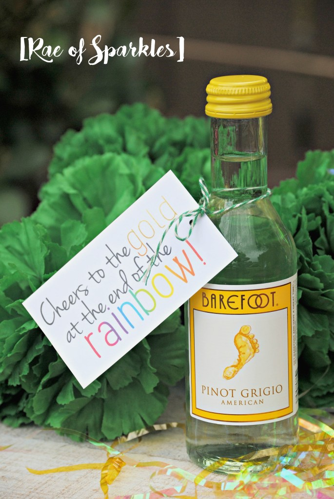 St. Patrick's Day Treats - Cheers to the Gold Wine Bottle Gift