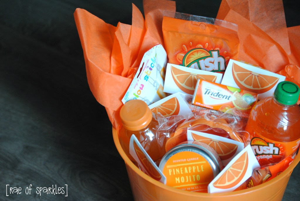 Create an Orange Gift Basket for Congratulations!
