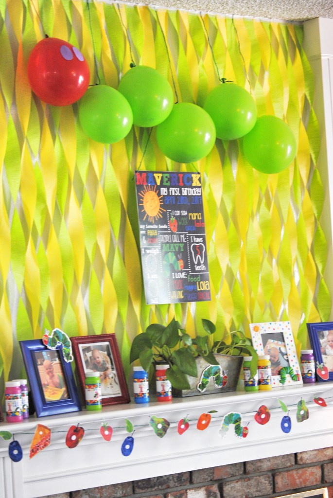 DIY Hungry Caterpillar Backdrop - Mantle