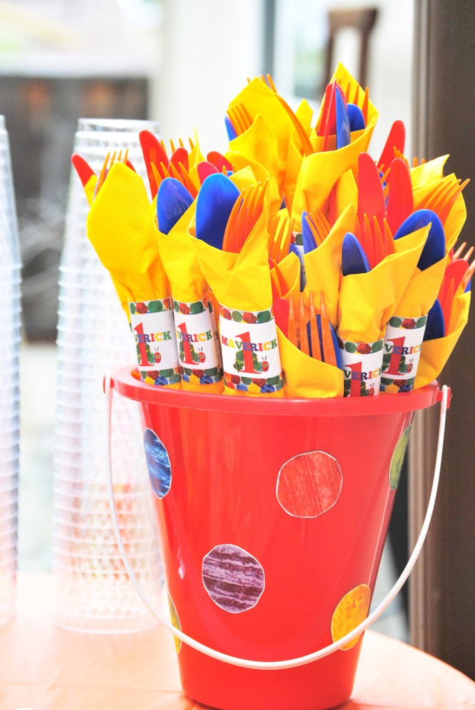 DIY Hungry Caterpillar Silverware Bucket